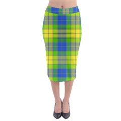 Spring Plaid Yellow Blue And Green Midi Pencil Skirt
