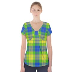 Spring Plaid Yellow Blue And Green Short Sleeve Front Detail Top