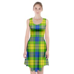 Spring Plaid Yellow Blue And Green Racerback Midi Dress