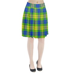 Spring Plaid Yellow Blue And Green Pleated Skirt