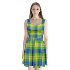 Spring Plaid Yellow Blue And Green Split Back Mini Dress