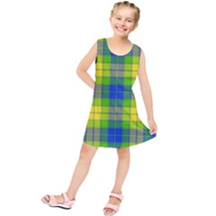 Spring Plaid Yellow Blue And Green Kids  Tunic Dress