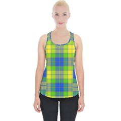 Spring Plaid Yellow Blue And Green Piece Up Tank Top