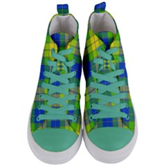 Spring Plaid Yellow Blue And Green Women s Mid Top Canvas Sneakers