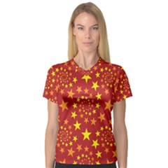 Star Stars Pattern Design V Neck Sport Mesh Tee