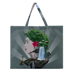 Digital Nature Beauty Zipper Large Tote Bag