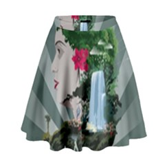 Digital Nature Beauty High Waist Skirt