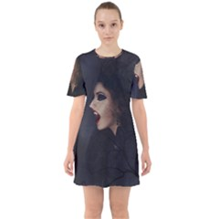 Vampire Woman Vampire Lady Sixties Short Sleeve Mini Dress