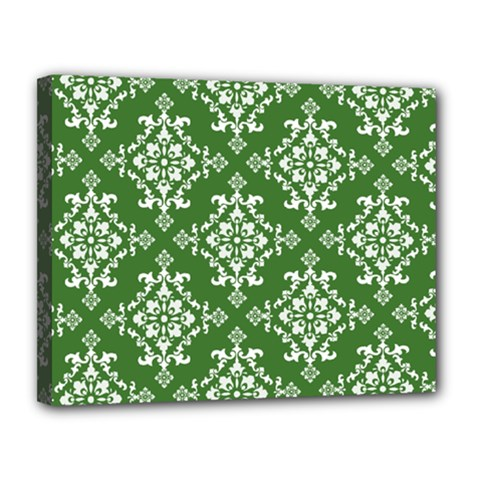 St Patrick S Day Damask Vintage Canvas 14  X 11