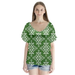 St Patrick S Day Damask Vintage V Neck Flutter Sleeve Top