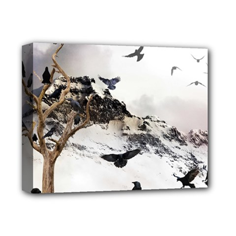 Birds Crows Black Ravens Wing Deluxe Canvas 14  X 11