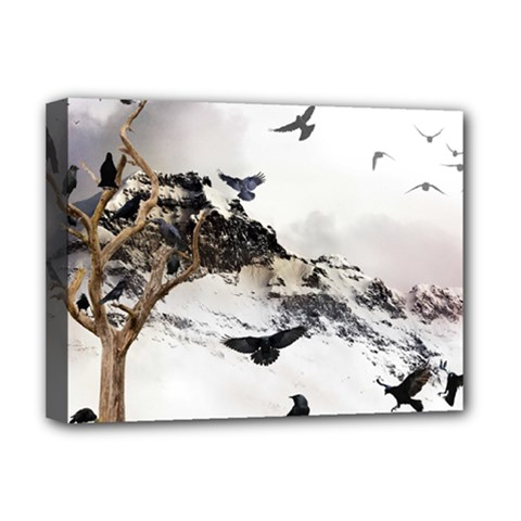 Birds Crows Black Ravens Wing Deluxe Canvas 16  X 12