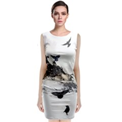 Birds Crows Black Ravens Wing Classic Sleeveless Midi Dress