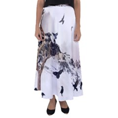Birds Crows Black Ravens Wing Flared Maxi Skirt