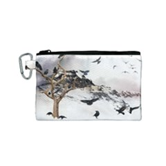 Birds Crows Black Ravens Wing Canvas Cosmetic Bag (small)