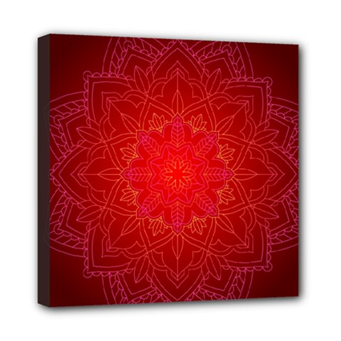 Mandala Ornament Floral Pattern Mini Canvas 8  X 8