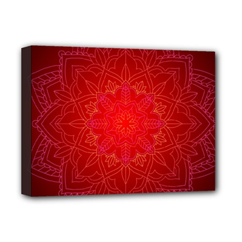Mandala Ornament Floral Pattern Deluxe Canvas 16  X 12