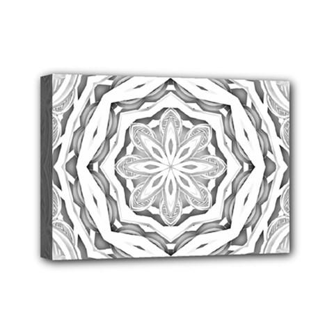 Mandala Pattern Floral Mini Canvas 7  X 5