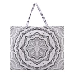 Mandala Pattern Floral Zipper Large Tote Bag