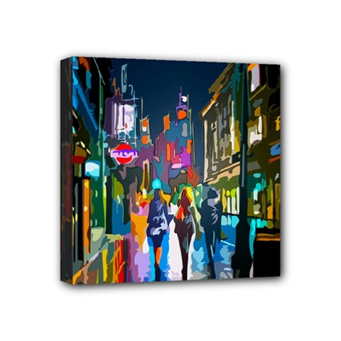 Abstract Vibrant Colour Cityscape Mini Canvas 4  X 4