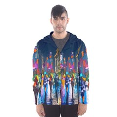Abstract Vibrant Colour Cityscape Hooded Wind Breaker (men)