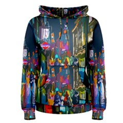 Abstract Vibrant Colour Cityscape Women s Pullover Hoodie