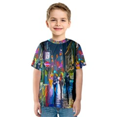 Abstract Vibrant Colour Cityscape Kids  Sport Mesh Tee