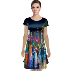 Abstract Vibrant Colour Cityscape Cap Sleeve Nightdress