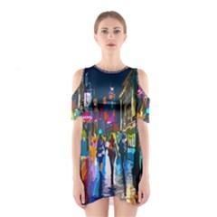 Abstract Vibrant Colour Cityscape Shoulder Cutout One Piece