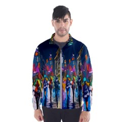 Abstract Vibrant Colour Cityscape Wind Breaker (men)