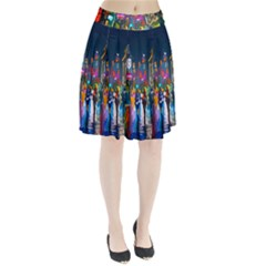 Abstract Vibrant Colour Cityscape Pleated Skirt