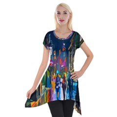 Abstract Vibrant Colour Cityscape Short Sleeve Side Drop Tunic