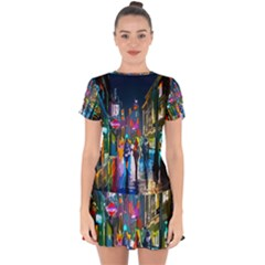 Abstract Vibrant Colour Cityscape Drop Hem Mini Chiffon Dress