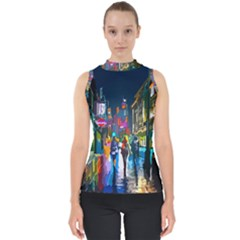 Abstract Vibrant Colour Cityscape Shell Top