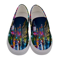 Abstract Vibrant Colour Cityscape Women s Canvas Slip Ons