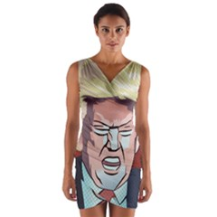 Donald Trump Pop Art President Usa Wrap Front Bodycon Dress