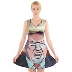 Donald Trump Pop Art President Usa V Neck Sleeveless Skater Dress