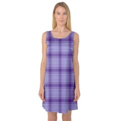 Purple Plaid Original Traditional Sleeveless Satin Nightdress