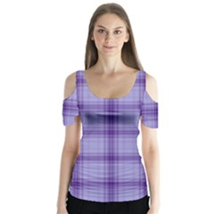Purple Plaid Original Traditional Butterfly Sleeve Cutout Tee