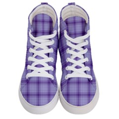 Purple Plaid Original Traditional Men s Hi Top Skate Sneakers