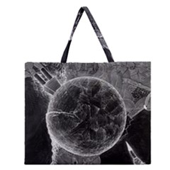 Space Universe Earth Rocket Zipper Large Tote Bag
