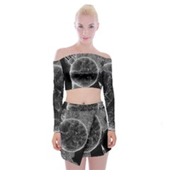 Space Universe Earth Rocket Off Shoulder Top With Mini Skirt Set