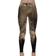 Tree Bushes Black Nature Landscape Classic Yoga Leggings