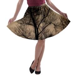 Tree Bushes Black Nature Landscape A Line Skater Skirt