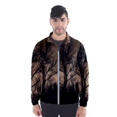 Tree Bushes Black Nature Landscape Wind Breaker (men)