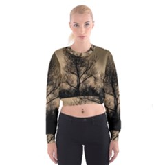 Tree Bushes Black Nature Landscape Cropped Sweatshirt