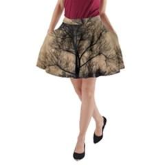 Tree Bushes Black Nature Landscape A Line Pocket Skirt