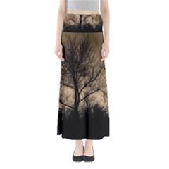 Tree Bushes Black Nature Landscape Full Length Maxi Skirt