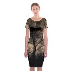 Tree Bushes Black Nature Landscape Classic Short Sleeve Midi Dress