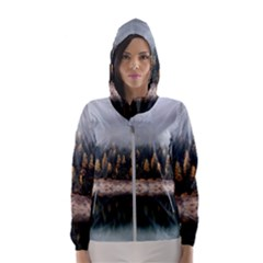 Trees Plants Nature Forests Lake Hooded Wind Breaker (women)